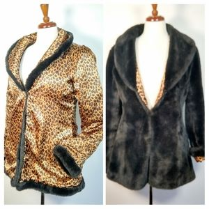 Rare Vtg reversible faux fur leopard print coat S